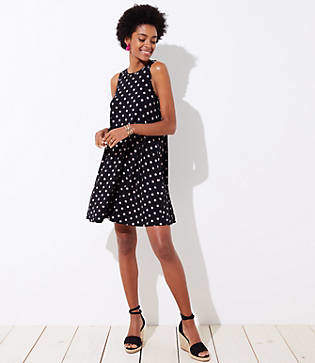 LOFT Petite Polka Dot Sleeveless Swing Dress