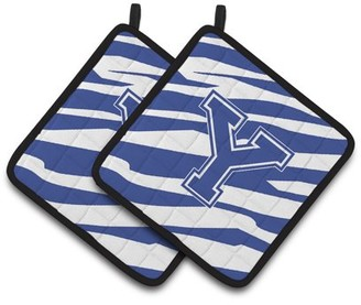 Caroline's Treasures Monogram Initial Y Tiger Stripe Blue and White Pair of Pot Holders