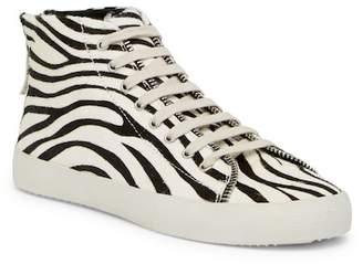 Rebecca Minkoff Zaina Too Genuine Calf Hair Mid Sneaker
