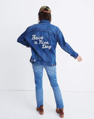 Madewell The Oversized Jean Jacket in Fellows Wash: Embroidered Edition