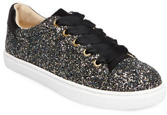 Betsey Johnson Rae Glittered Lace-Up Sneakers $79 thestylecure.com