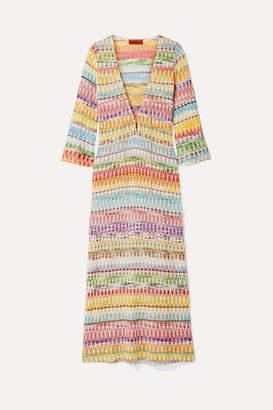 Missoni Mare Metallic Crochet-knit Cotton-blend Kaftan - Pink