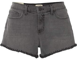 L'Agence Zoe Frayed Denim Shorts - Dark gray