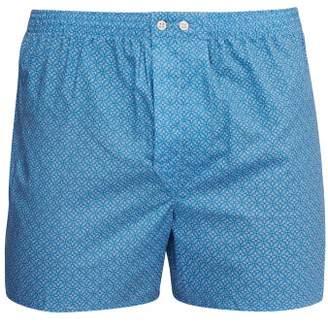 Derek Rose Ledbury Print Cotton Boxer Shorts - Mens - Blue