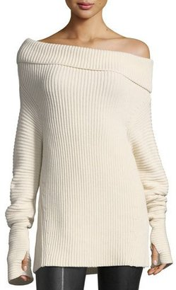 Helmut Lang Folded Off-the-Shoulder Ribbed Long Sweater $435 thestylecure.com