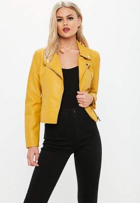 Missguided Yellow Faux Leather Biker Jacket