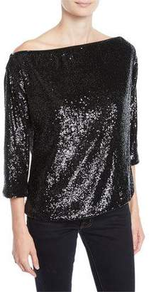 A.L.C. Zoey Off-Shoulder Sequin 3/4-Sleeve Top
