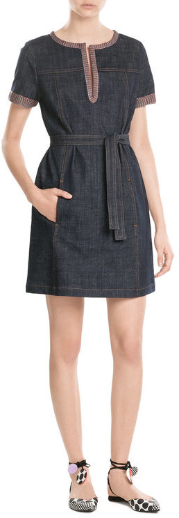 See By Chloe See by Chloé Denim Dress with Knit Trim