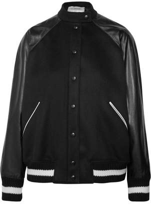 Valentino Leather And Appliquéd Wool-blend Bomber Jacket - Black