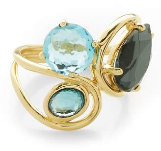 Ippolita Rock Candy 18K Yellow Gold Prong & Bezel Set Stone Squiggle Ring - Size 7