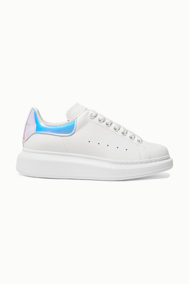Alexander McQueen Iridescent-trimmed Leather Exaggerated-sole Sneakers