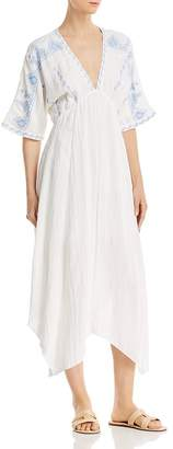 En Creme Embroidered Dolman-Sleeve Maxi Dress