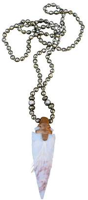 S. carter designs S Carter Wooden Dowel Wrapped Agate Arrowhead Necklace Knotted On Pyrite Balls With Rosecut Diamond Balls