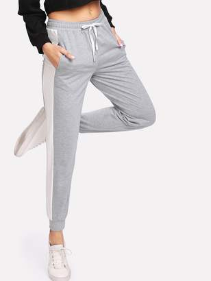 Shein Contrast Panel Heather Knit Drawstring Sweatpants