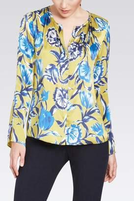 Ecru Silk Floral Blouse