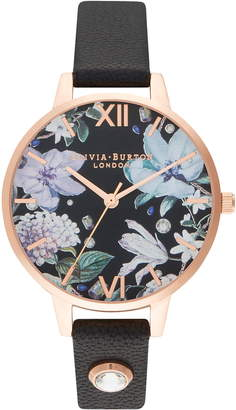 Olivia Burton Bejeweled Floral Leather Strap Watch, 34mm