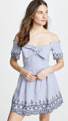 J.o.a. Tie Front Gingham Dress