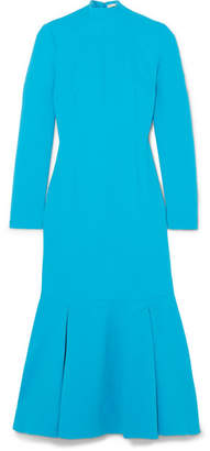 Emilia Wickstead Prudence Cloqué Turtleneck Midi Dress - Azure