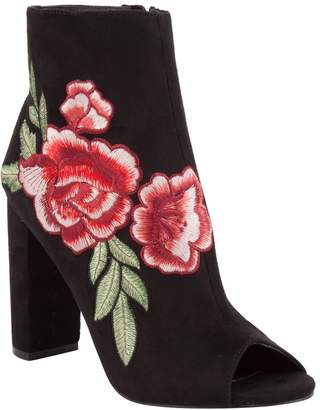 Wild Diva Rose Embroidered Peep Toe Heeled Booties
