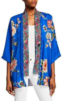 Johnny Was Bonian Floral Georgette Kimono w/ Embroidered Trim