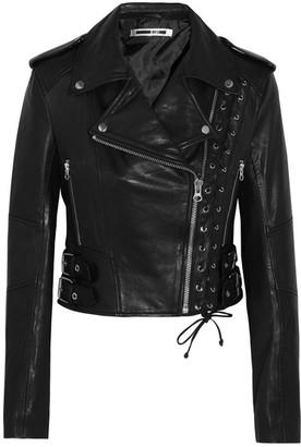 McQ Alexander McQueen - Lace-up Leather Biker Jacket - Black $1,350 thestylecure.com