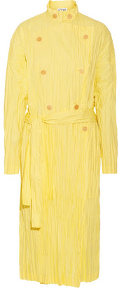 Crinkled Cotton-blend Poplin Trench Coat - Pastel yellow