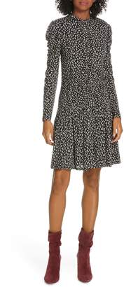 Rebecca Taylor Cheetah Ruched Jersey Dress