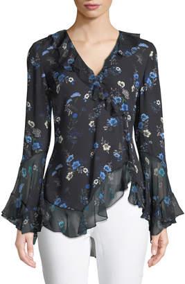 Elie Tahari Halima V-Neck Long-Sleeve Ruffled Floral-Print Silk Blouse