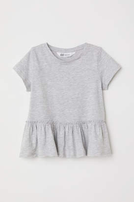 H&M Short-sleeved Flounced Top - Gray