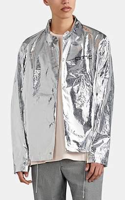 Oamc Men's Grid-Graphic Coach's Jacket - Silver