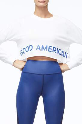 Good American The Cropped Crew - White002