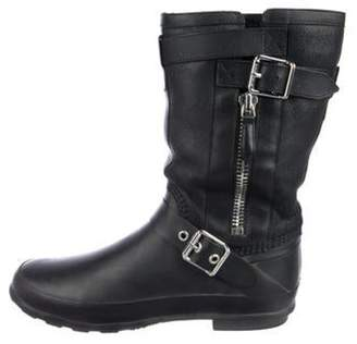 Burberry Round-Toe Mid-Calf Boots Black Round-Toe Mid-Calf Boots