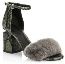 Alexander Wang Abby Tilt-Heel Rabbit Fur & Snakeskin Sandals
