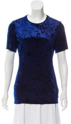 Tibi Velvet Short Sleeve Top