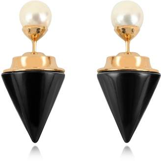 Vita Fede Double Titan Stone Pearl Earrings w/Akoya Pearls