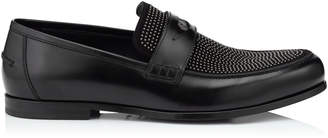 Jimmy Choo DARBLAY Black Shiny Calf and Suede Penny Loafers with Gunmetal Studs