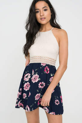 Ardene High Neck Crochet Mini Dress