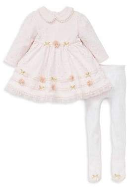 Little Me Baby Girl's Two-Piece Collared Cotton Dress & Tights Set