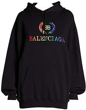 Balenciaga Women's Rainbow Logo Hoodie