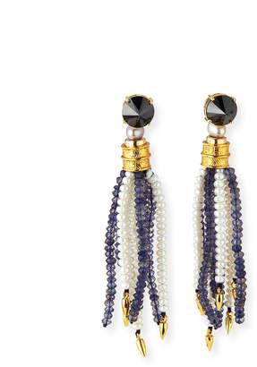 Lizzie Fortunato Oasis Iolite & Pearl Tassel Earrings