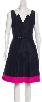 Oscar de la Renta Silk Pleated Dress