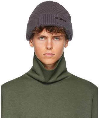 we11done Grey Knit Logo Beanie