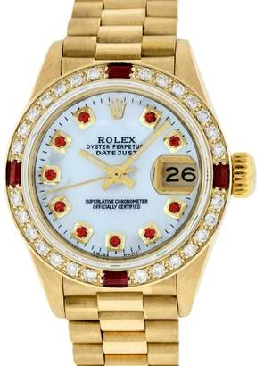Rolex Datejust President 18K Yellow Gold Mother Of Pearl Diamond & Ruby 26mm Womens Watch