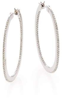 Effy Diamond & 14K White Gold Hoop Earrings/1""