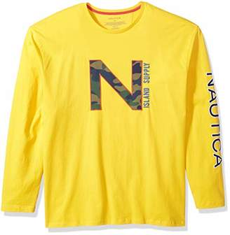 Nautica Men's Printed Long Sleeve Crew Neck Shirt