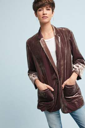 Anthropologie Iridescent Velvet Blazer