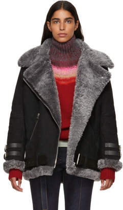 Acne Studios Black Suede and Shearling Velocite Jacket