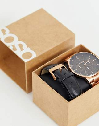 Asos Design DESIGN interchangeable watch gift set with bracelet in brushed rose gold tone