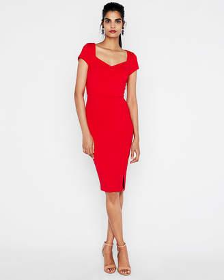 Express Ribbed Puff Shoulder Sweetheart Sheath Dress