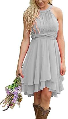 Cdress Women's Halter Solid Sleeveless High-Low Fit-and-Flare Dress